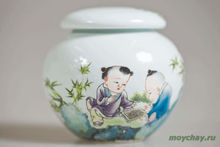 "Tea caddy # 106 ""Children playing in go"" porcelain"