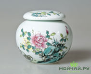 "Tea caddy ""Flowers and birds""  # 149 porcelain"