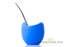 Vessel for mate silicone and bombilla set # 16 blue 200 ml