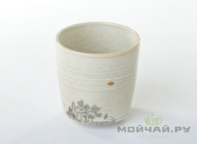 Cup # 4262 wood firing hand painting 110 ml