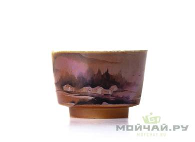Cup # 18287 ceramic wood firing hand painting 70 ml