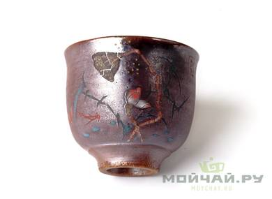 Cup # 18332 ceramic wood firing hand painting  64 ml