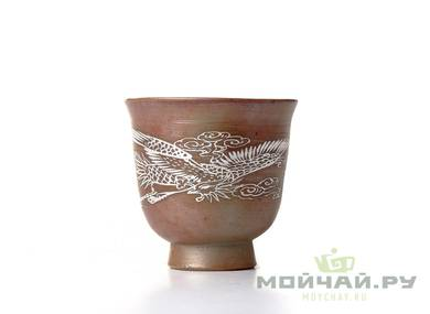 Cup # 18334 ceramic wood firing hand painting  98 ml
