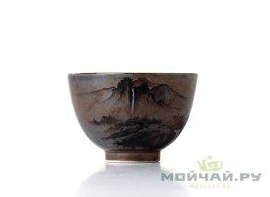 Cup # 18324 ceramic wood firing hand painting 58 ml