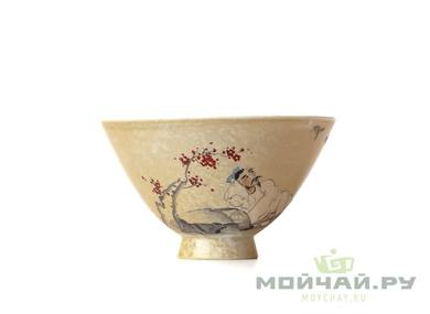 Cup # 18301 ceramic wood firing hand painting 76 ml