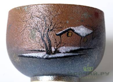 Cup # 18305 ceramic wood firing hand painting 78 ml