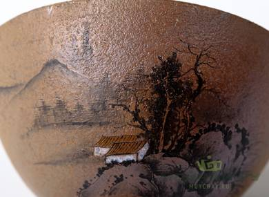 Cup # 18302 ceramic wood firing hand painting 56 ml