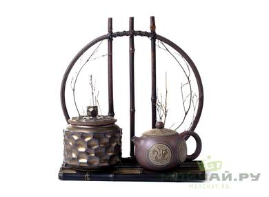 Shelf decorative for tea accessories and  # 19333 bamboo