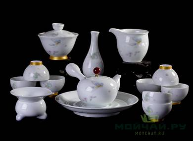 Set for tea ceremony 14 items # 22959 porcelain: teaboat 240 ml teapot 220 ml gaiwan 205 ml gundaobey 205 ml teamesh vase eight cups 56 ml
