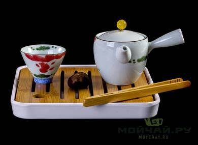 Travel kit for tea ceremony # 23484 porcelain: teapot 190 ml four cups of 65 ml teatray tongs tea towel case for transportation