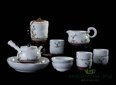 Set for tea ceremony 11 items # 23529 porcelain: six cups 75 ml teapot 245 ml teamesh gundaobey 200 ml teacaddy teaboat