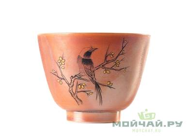 Cup # 24988 ceramic hand painting wood firing 85 ml