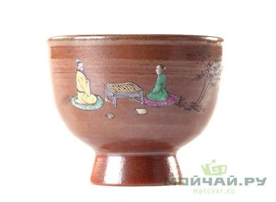Cup # 25008 ceramic hand painting wood firing 75 ml