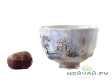 Cup # 25025 ceramic hand painting wood firing 95 ml