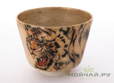 Cup # 29498 wood firingceramichand painting 124 ml
